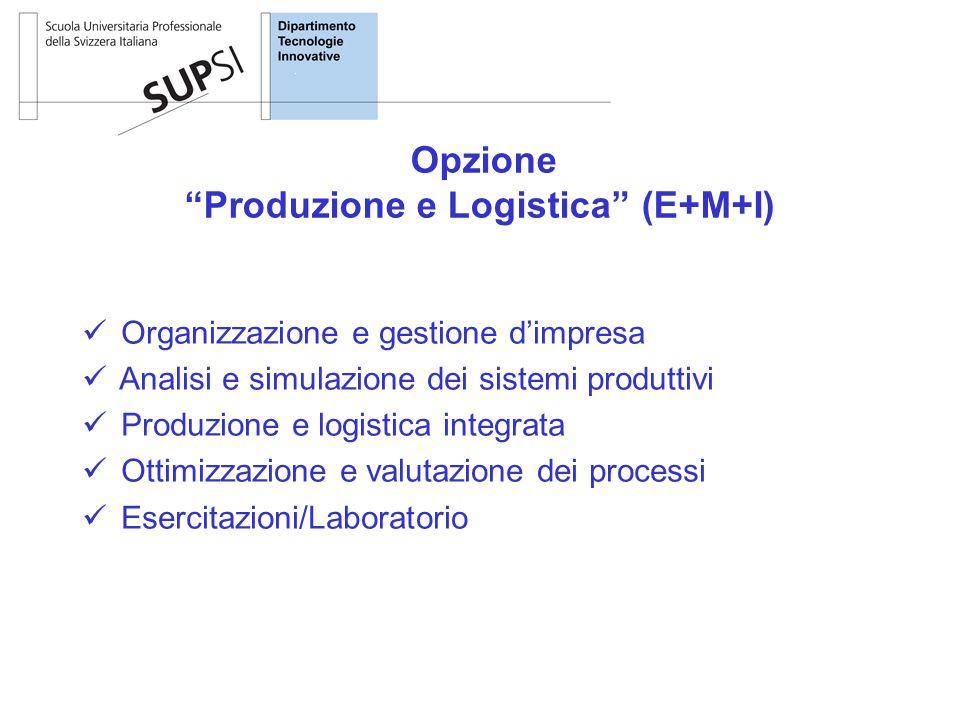Organizzazione e gestione d'impresa Analisi e simulazione dei sistemi produttivi Produzione e logistica integrata Ottimizzazione e valutazione dei processi Esercitazioni/Laboratorio Opzione Produzione e Logistica (E+M+I)