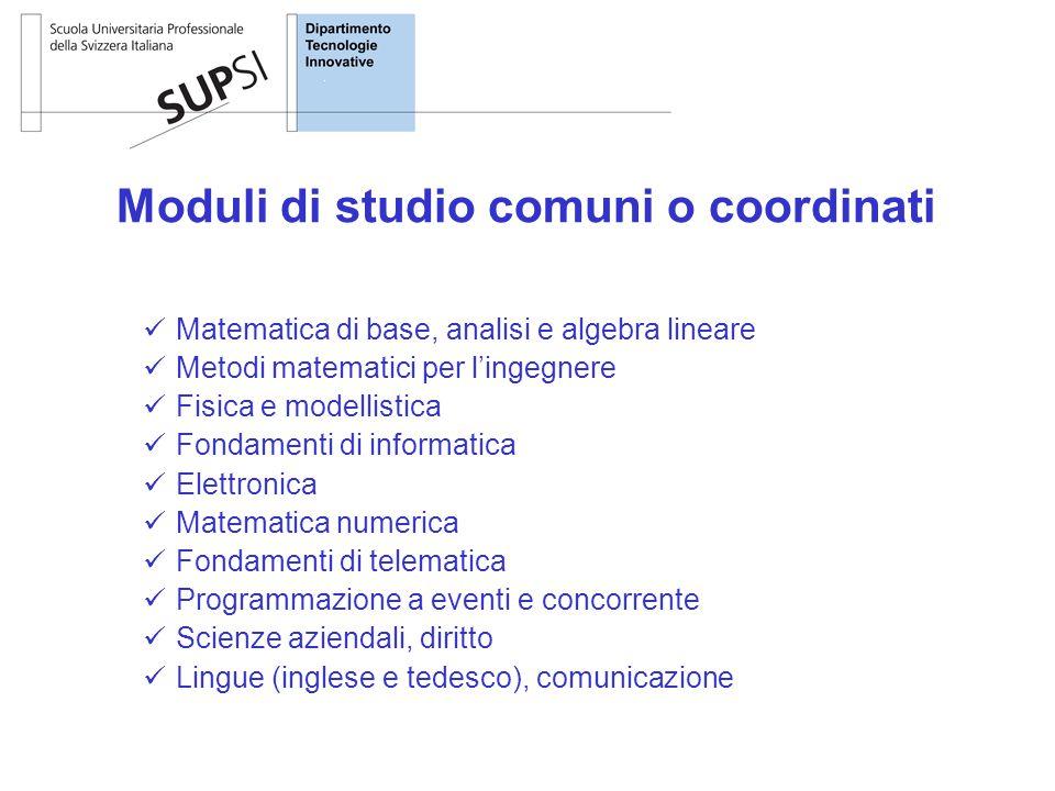 Moduli di studio comuni o coordinati Matematica di base, analisi e algebra lineare Metodi matematici per l'ingegnere Fisica e modellistica Fondamenti