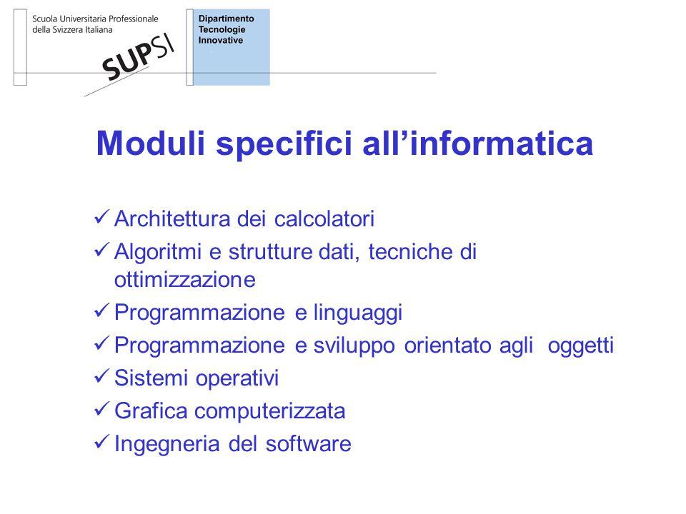 Moduli specifici all'informatica Architettura dei calcolatori Algoritmi e strutture dati, tecniche di ottimizzazione Programmazione e linguaggi Programmazione e sviluppo orientato agli oggetti Sistemi operativi Grafica computerizzata Ingegneria del software