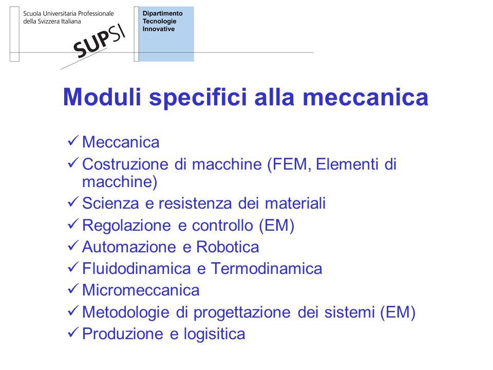 Moduli specifici alla meccanica Meccanica Costruzione di macchine (FEM, Elementi di macchine) Scienza e resistenza dei materiali Regolazione e control