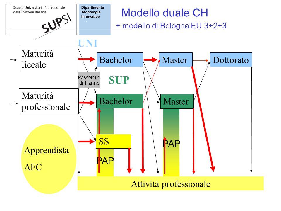 PAP Apprendista AFC Attività professionale Maturità liceale Maturità professionale BachelorMasterDottorato + modello di Bologna EU 3+2+3 Bachelor Mast
