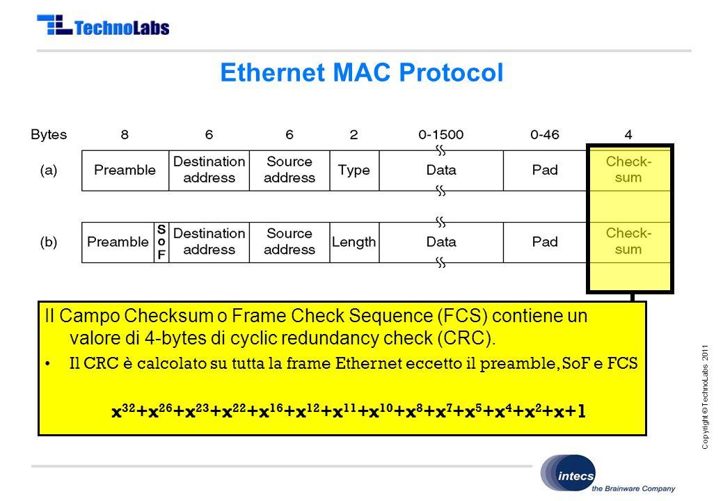 Copyright © TechnoLabs 2011 Ethernet MAC Protocol Il Campo Checksum o Frame Check Sequence (FCS) contiene un valore di 4-bytes di cyclic redundancy check (CRC).