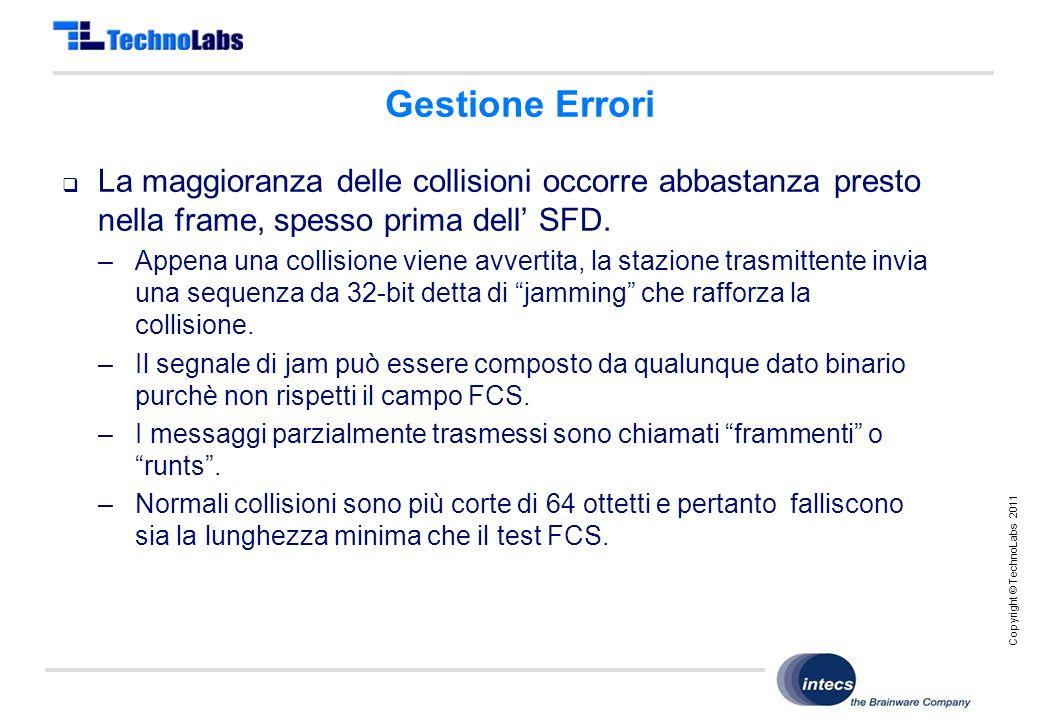 Copyright © TechnoLabs 2011 Gestione Errori  La maggioranza delle collisioni occorre abbastanza presto nella frame, spesso prima dell' SFD.