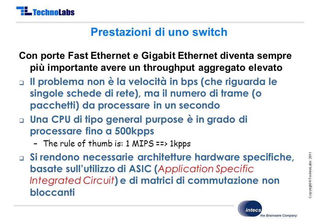 Copyright © TechnoLabs 2011 Prestazioni di uno switch Con porte Fast Ethernet e Gigabit Ethernet diventa sempre più importante avere un throughput aggregato elevato  Il problema non è la velocità in bps (che riguarda le singole schede di rete), ma il numero di trame (o pacchetti) da processare in un secondo  Una CPU di tipo general purpose è in grado di processare fino a 500kpps –The rule of thumb is: 1 MIPS ==> 1kpps  Si rendono necessarie architetture hardware specifiche, basate sull'utilizzo di ASIC ( Application Specific Integrated Circuit ) e di matrici di commutazione non bloccanti