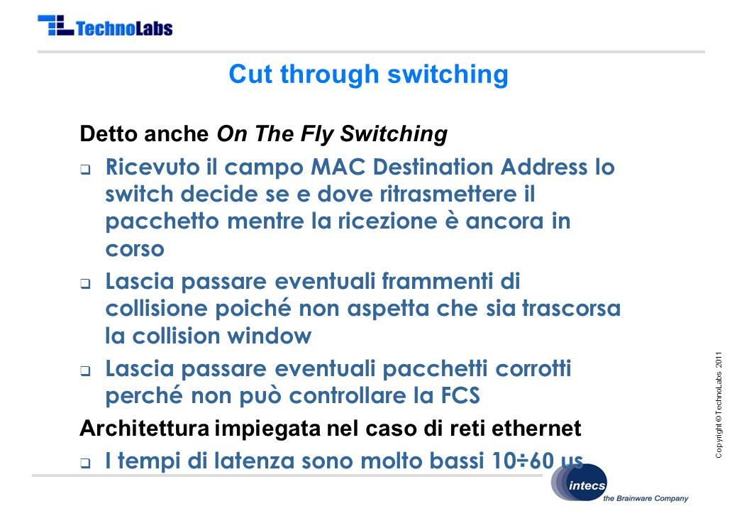 Copyright © TechnoLabs 2011 Cut through switching Detto anche On The Fly Switching  Ricevuto il campo MAC Destination Address lo switch decide se e d