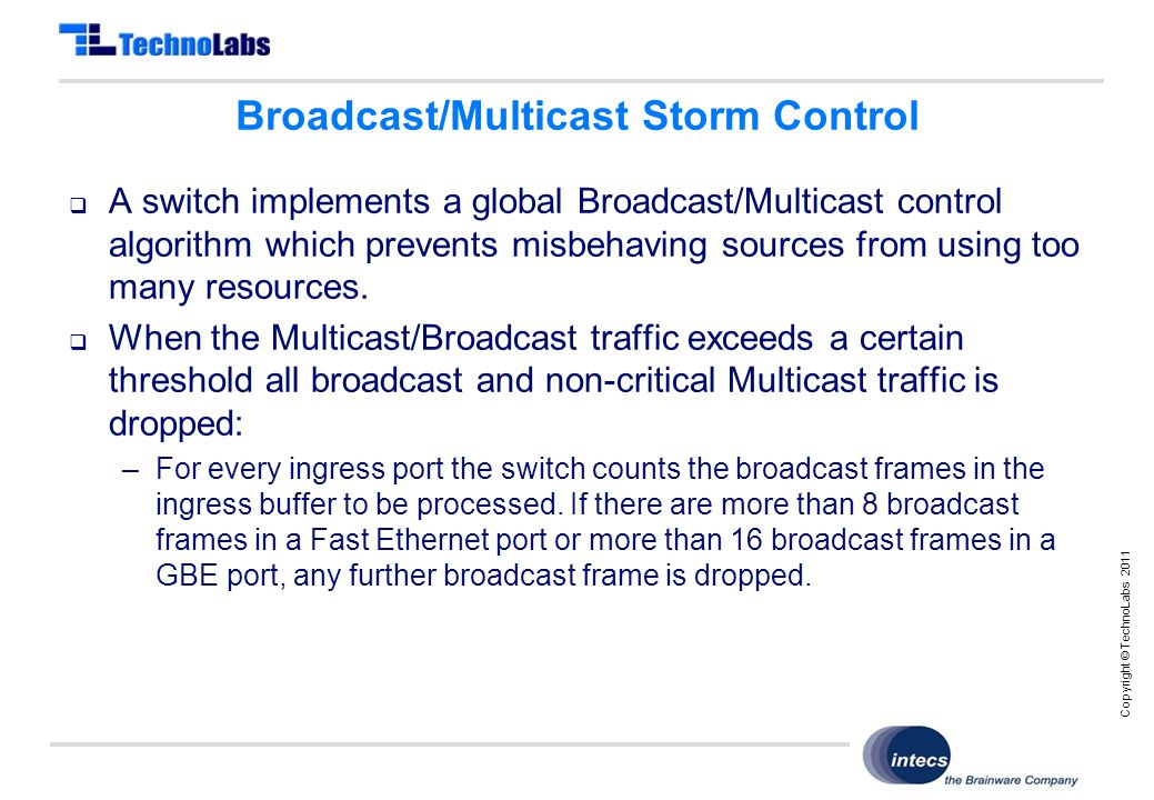 Copyright © TechnoLabs 2011 Broadcast/Multicast Storm Control  A switch implements a global Broadcast/Multicast control algorithm which prevents misbehaving sources from using too many resources.