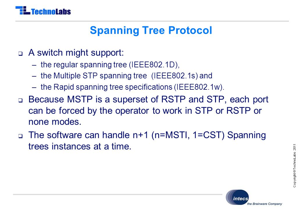 Copyright © TechnoLabs 2011 Spanning Tree Protocol  A switch might support: –the regular spanning tree (IEEE802.1D), –the Multiple STP spanning tree (IEEE802.1s) and –the Rapid spanning tree specifications (IEEE802.1w).