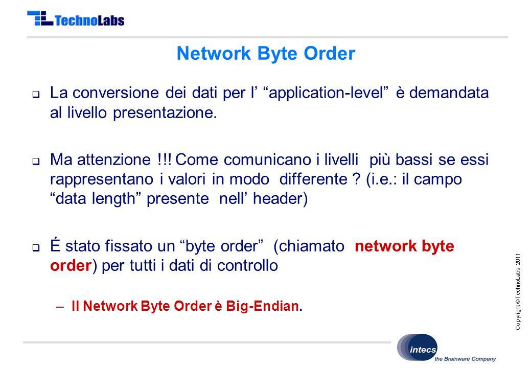 Copyright © TechnoLabs 2011 Network Byte Order  La conversione dei dati per l' application-level è demandata al livello presentazione.