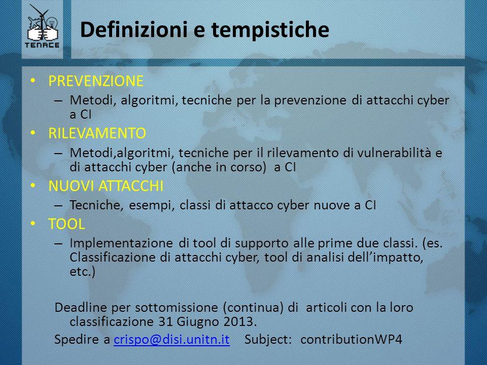 Definizioni e tempistiche PREVENZIONE – Metodi, algoritmi, tecniche per la prevenzione di attacchi cyber a CI RILEVAMENTO – Metodi,algoritmi, tecniche per il rilevamento di vulnerabilità e di attacchi cyber (anche in corso) a CI NUOVI ATTACCHI – Tecniche, esempi, classi di attacco cyber nuove a CI TOOL – Implementazione di tool di supporto alle prime due classi.