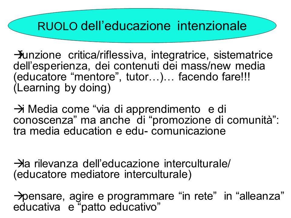 """ funzione critica/riflessiva, integratrice, sistematrice dell'esperienza, dei contenuti dei mass/new media (educatore """"mentore"""", tutor…)… facendo far"""