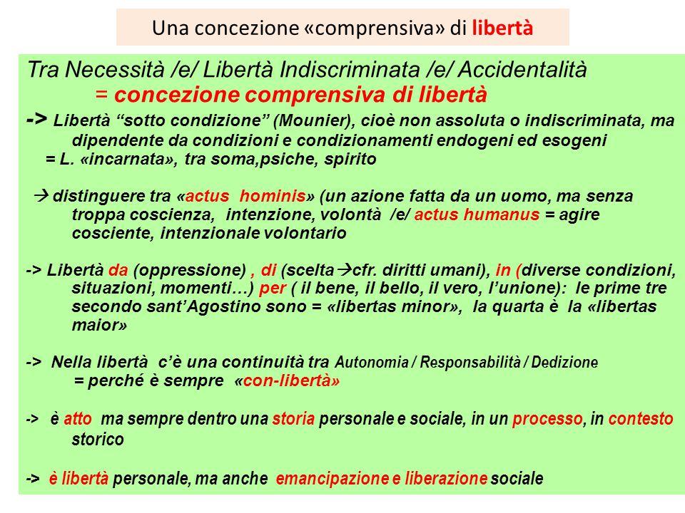 "Una concezione «comprensiva» di libertà Tra Necessità /e/ Libertà Indiscriminata /e/ Accidentalità = concezione comprensiva di libertà -> Libertà ""sot"