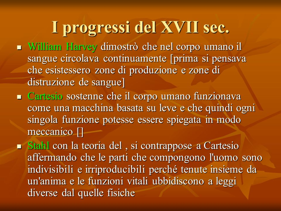 I progressi del XVII sec.