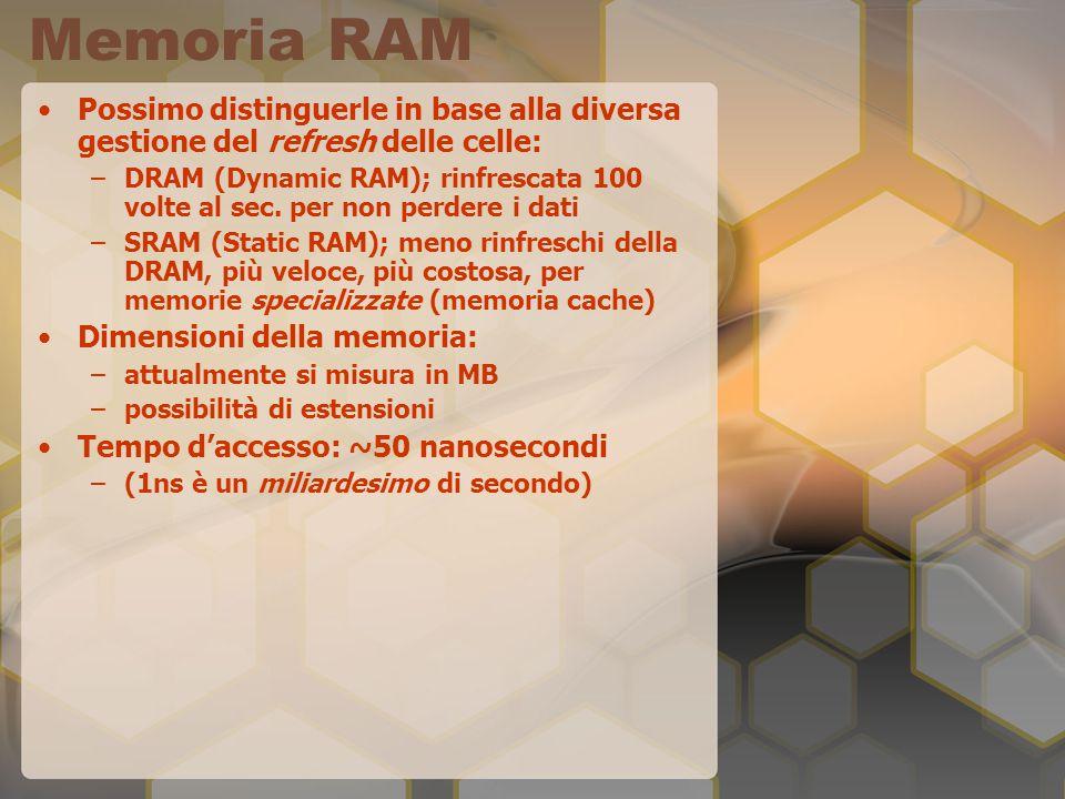 Memoria RAM Possimo distinguerle in base alla diversa gestione del refresh delle celle: –DRAM (Dynamic RAM); rinfrescata 100 volte al sec.