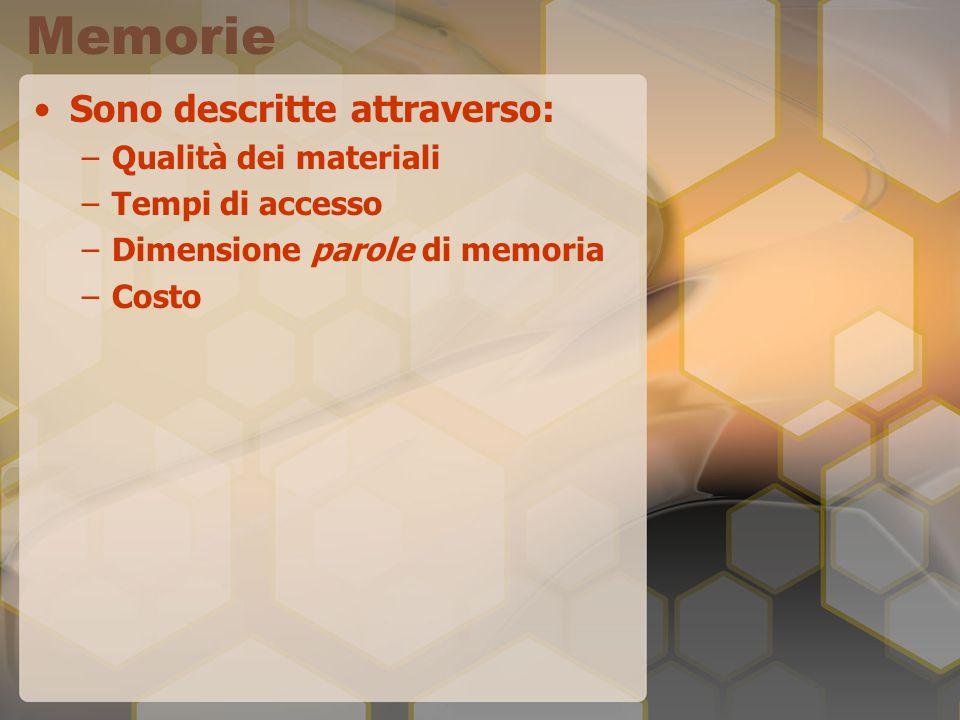 Memorie Sono descritte attraverso: –Qualità dei materiali –Tempi di accesso –Dimensione parole di memoria –Costo