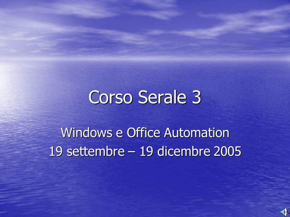 Corso Serale 3 Windows e Office Automation 19 settembre – 19 dicembre 2005