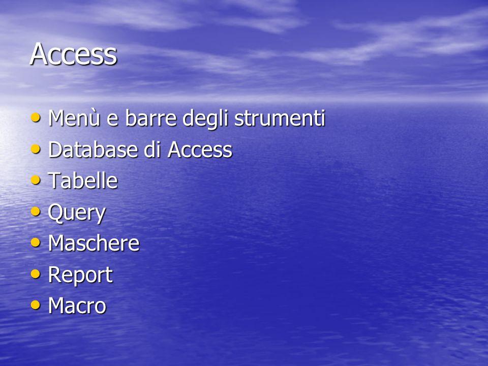 Access Menù e barre degli strumenti Menù e barre degli strumenti Database di Access Database di Access Tabelle Tabelle Query Query Maschere Maschere Report Report Macro Macro
