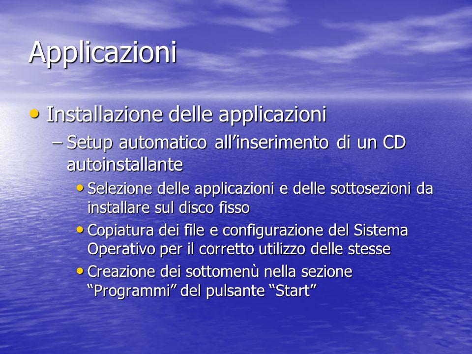 Applicazioni Installazione delle applicazioni Installazione delle applicazioni –Setup automatico all'inserimento di un CD autoinstallante Selezione de