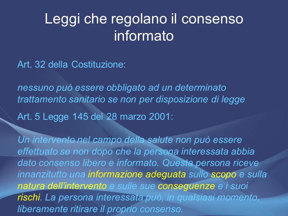 Art. 32 della Costituzione: nessuno può essere obbligato ad un determinato trattamento sanitario se non per disposizione di legge Leggi che regolano i