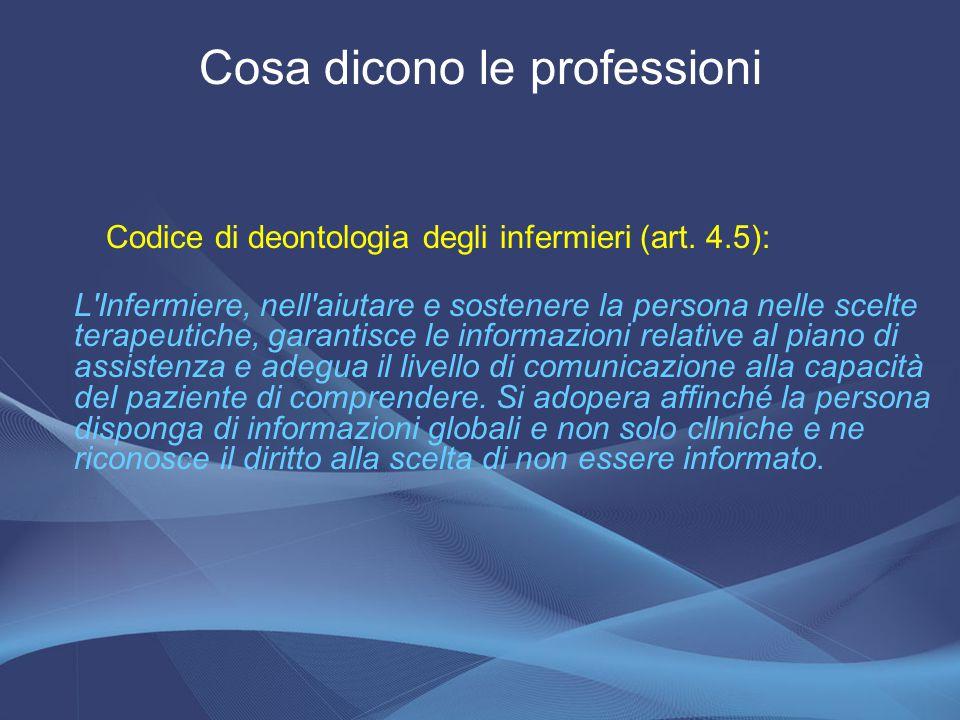 Codice di deontologia degli infermieri (art. 4.5): L'Infermiere, nell'aiutare e sostenere la persona nelle scelte terapeutiche, garantisce le informaz
