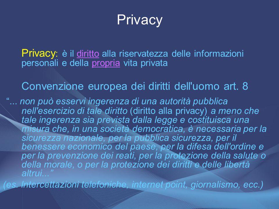 Privacy : è il diritto alla riservatezza delle informazioni personali e della propria vita privatadirittopropria Convenzione europea dei diritti dell'