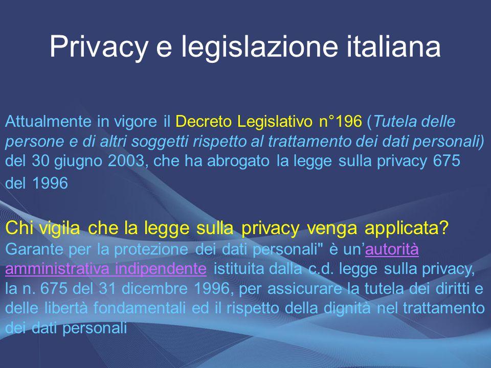 Privacy e legislazione italiana Attualmente in vigore il Decreto Legislativo n°196 (Tutela delle persone e di altri soggetti rispetto al trattamento d