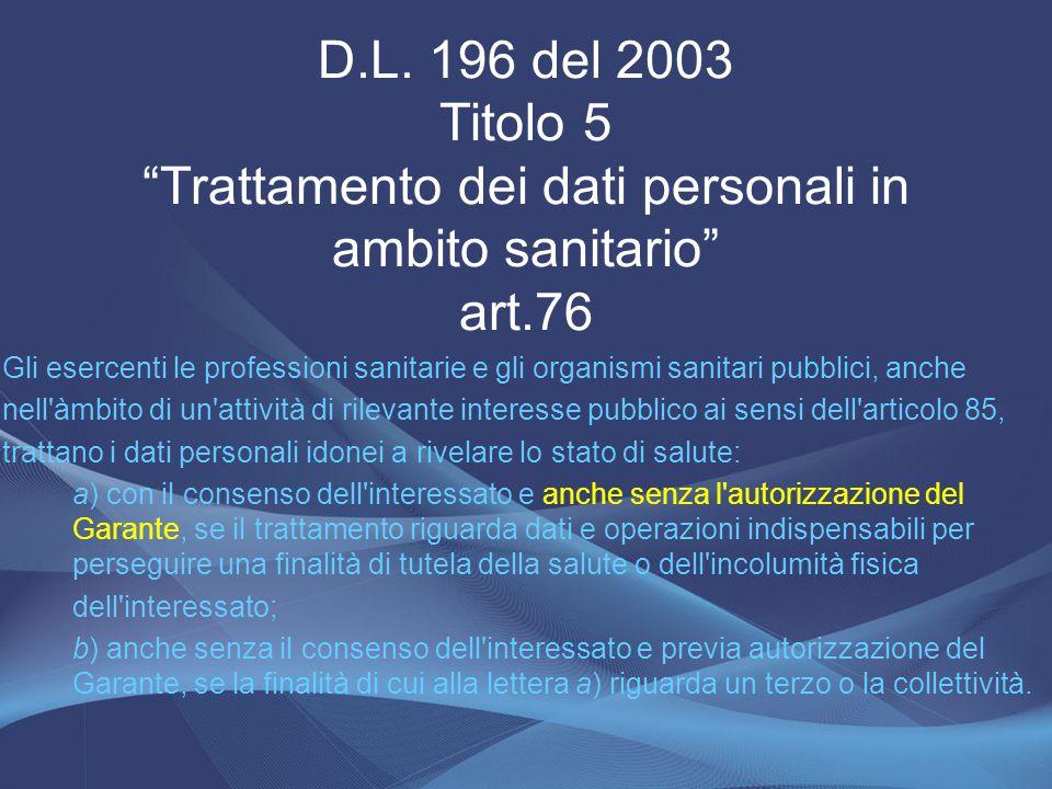 """D.L. 196 del 2003 Titolo 5 """"Trattamento dei dati personali in ambito sanitario"""" art.76 Gli esercenti le professioni sanitarie e gli organismi sanitari"""