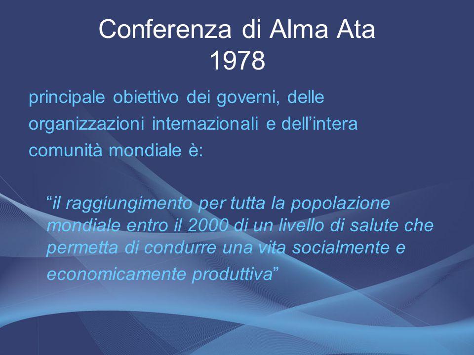 """Conferenza di Alma Ata 1978 principale obiettivo dei governi, delle organizzazioni internazionali e dell'intera comunità mondiale è: """"il raggiungiment"""