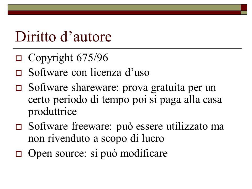 Diritto d'autore  Copyright 675/96  Software con licenza d'uso  Software shareware: prova gratuita per un certo periodo di tempo poi si paga alla c