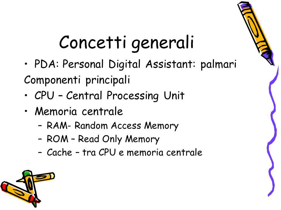 Concetti generali PDA: Personal Digital Assistant: palmari Componenti principali CPU – Central Processing Unit Memoria centrale –RAM- Random Access Me