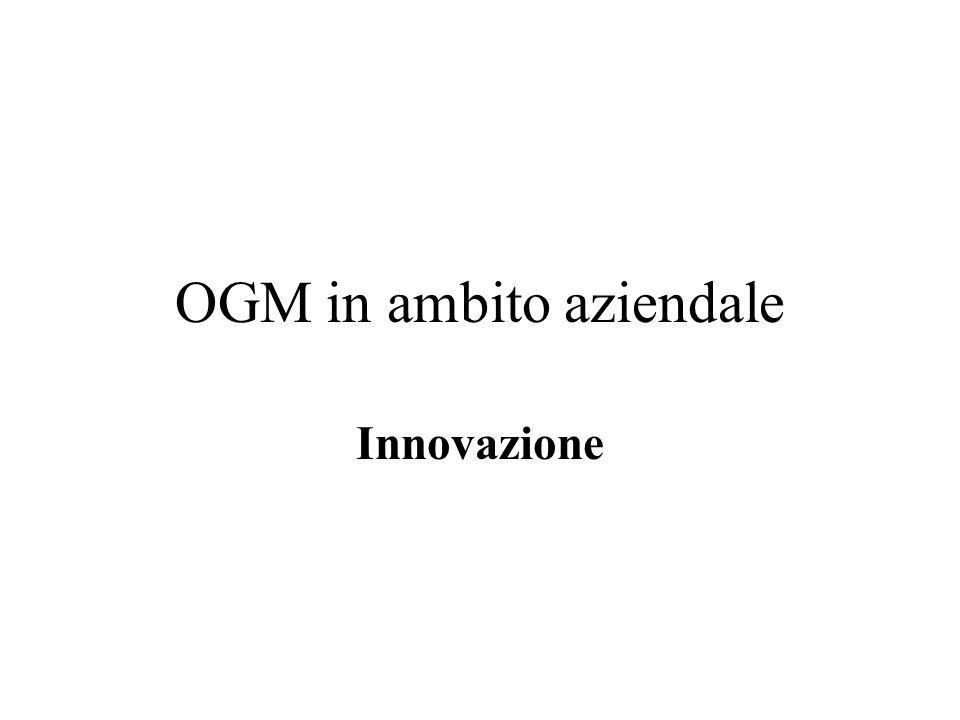 OGM in ambito aziendale Innovazione