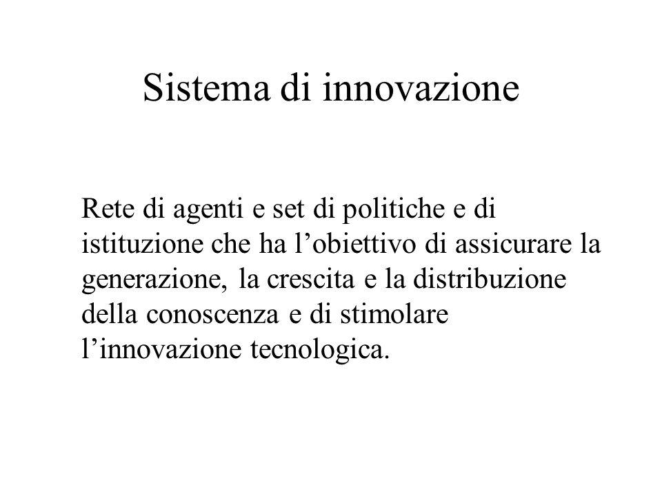 Sistema di innovazione Rete di agenti e set di politiche e di istituzione che ha l'obiettivo di assicurare la generazione, la crescita e la distribuzione della conoscenza e di stimolare l'innovazione tecnologica.