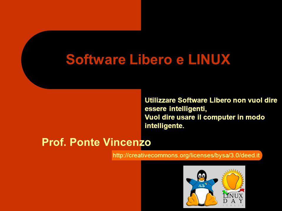 Software Libero e LINUX Prof. Ponte Vincenzo Utilizzare Software Libero non vuol dire essere intelligenti, Vuol dire usare il computer in modo intelli