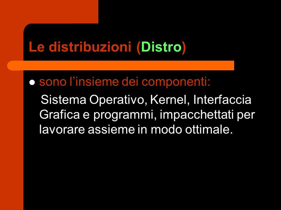 Le distribuzioni (Distro) sono l'insieme dei componenti: Sistema Operativo, Kernel, Interfaccia Grafica e programmi, impacchettati per lavorare assieme in modo ottimale.