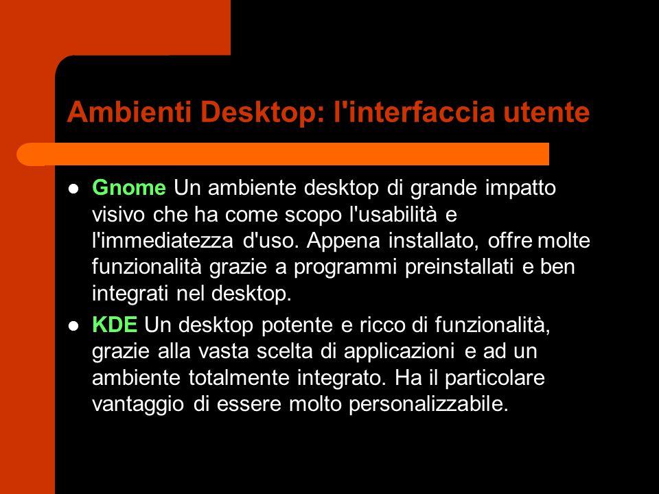 Ambienti Desktop: l'interfaccia utente Gnome Un ambiente desktop di grande impatto visivo che ha come scopo l'usabilità e l'immediatezza d'uso. Appena
