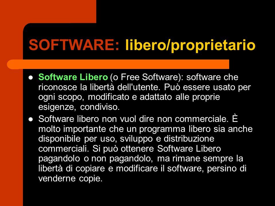 SOFTWARE: libero/proprietario Software Libero (o Free Software): software che riconosce la libertà dell'utente. Può essere usato per ogni scopo, modif