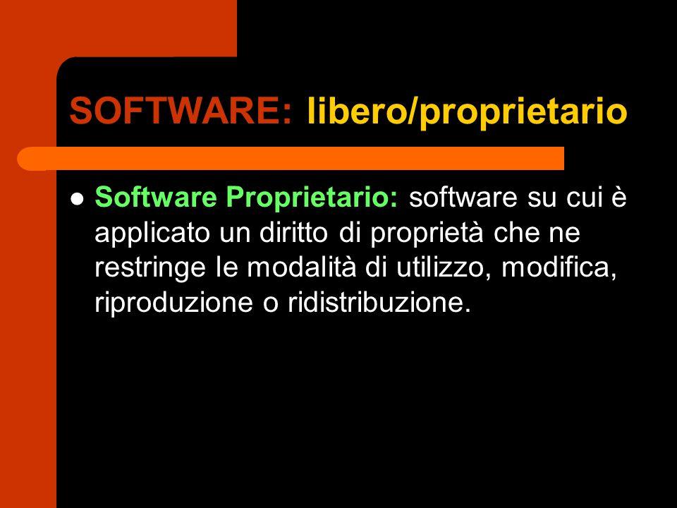 SOFTWARE: libero/proprietario Software Proprietario: software su cui è applicato un diritto di proprietà che ne restringe le modalità di utilizzo, modifica, riproduzione o ridistribuzione.