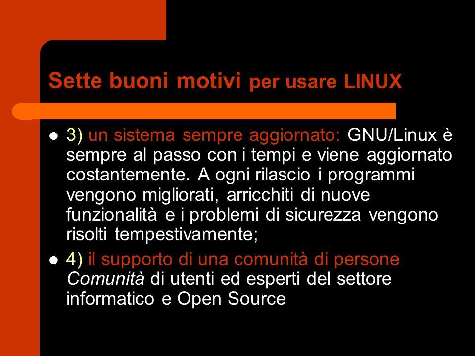 Sette buoni motivi per usare LINUX 3) un sistema sempre aggiornato: GNU/Linux è sempre al passo con i tempi e viene aggiornato costantemente.