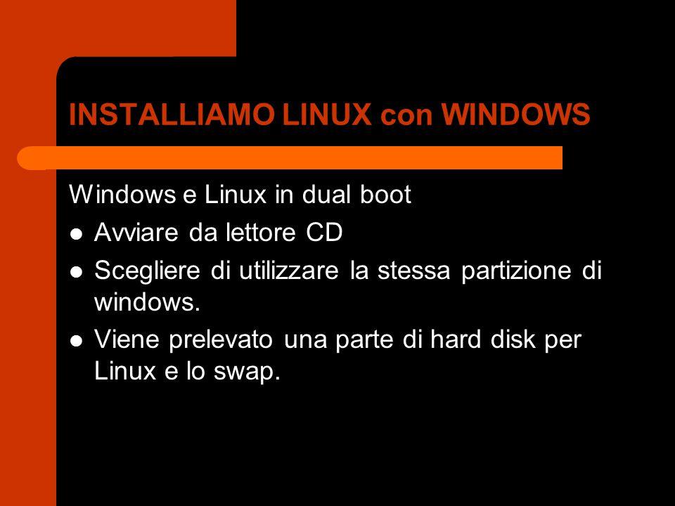 INSTALLIAMO LINUX con WINDOWS Windows e Linux in dual boot Avviare da lettore CD Scegliere di utilizzare la stessa partizione di windows. Viene prelev