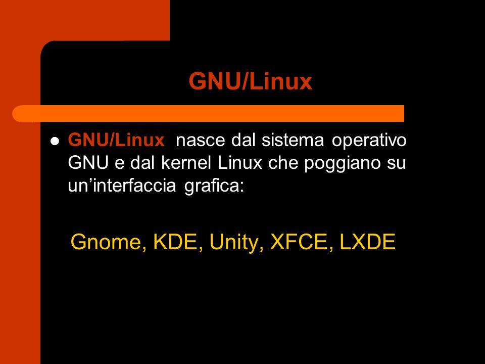 GNU/Linux GNU/Linux nasce dal sistema operativo GNU e dal kernel Linux che poggiano su un'interfaccia grafica: Gnome, KDE, Unity, XFCE, LXDE