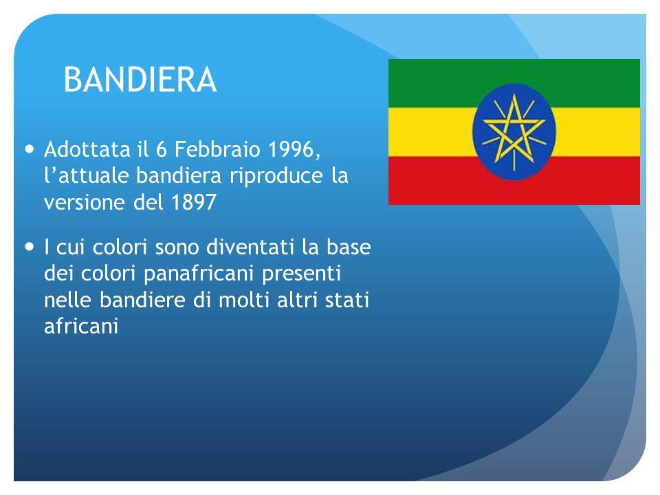 BANDIERA Adottata il 6 Febbraio 1996, l'attuale bandiera riproduce la versione del 1897 I cui colori sono diventati la base dei colori panafricani pre
