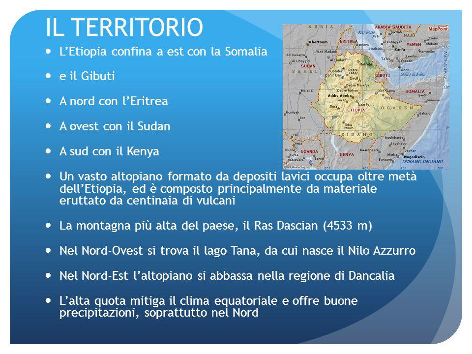 IL TERRITORIO L'Etiopia confina a est con la Somalia e il Gibuti A nord con l'Eritrea A ovest con il Sudan A sud con il Kenya Un vasto altopiano formato da depositi lavici occupa oltre metà dell'Etiopia, ed è composto principalmente da materiale eruttato da centinaia di vulcani La montagna più alta del paese, il Ras Dascian (4533 m) Nel Nord-Ovest si trova il lago Tana, da cui nasce il Nilo Azzurro Nel Nord-Est l'altopiano si abbassa nella regione di Dancalia L'alta quota mitiga il clima equatoriale e offre buone precipitazioni, soprattutto nel Nord