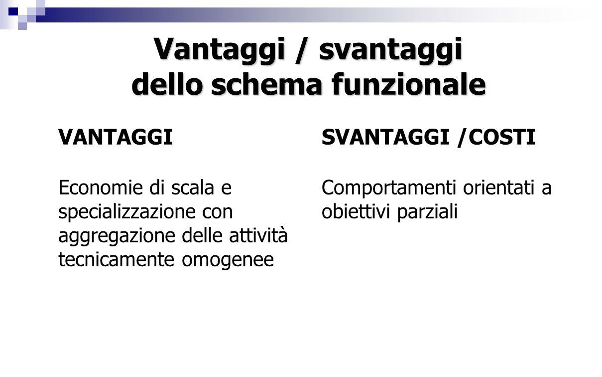 Vantaggi / svantaggi dello schema funzionale VANTAGGI Economie di scala e specializzazione con aggregazione delle attività tecnicamente omogenee SVANTAGGI /COSTI Comportamenti orientati a obiettivi parziali