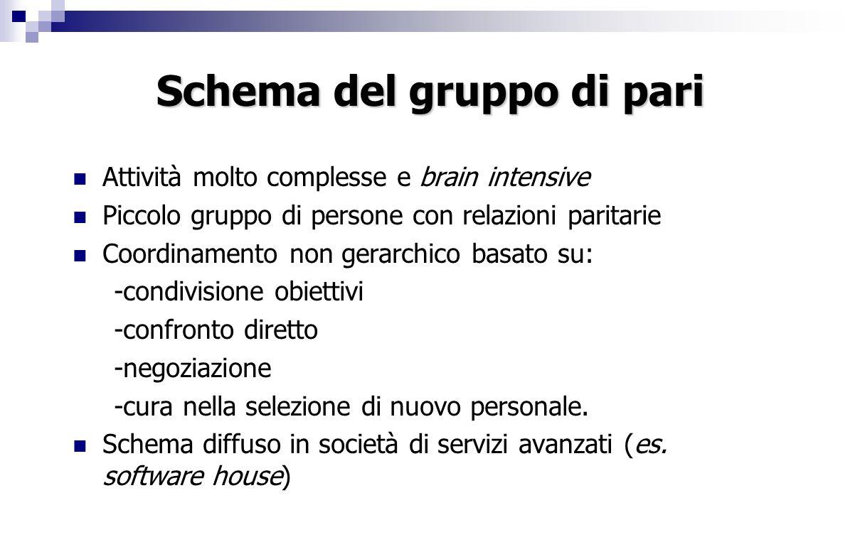 Schema del gruppo di pari Attività molto complesse e brain intensive Piccolo gruppo di persone con relazioni paritarie Coordinamento non gerarchico ba
