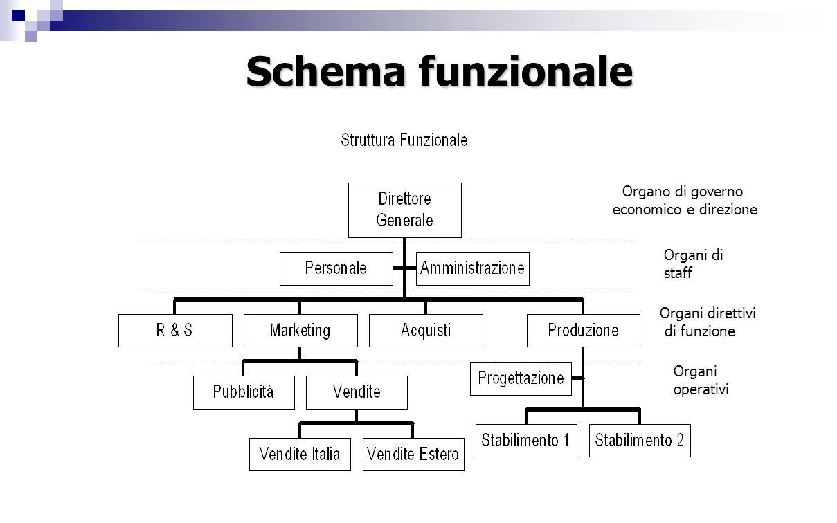 Organo di governo economico e direzione Organi operativi Organi di staff Organi direttivi di funzione Schema funzionale
