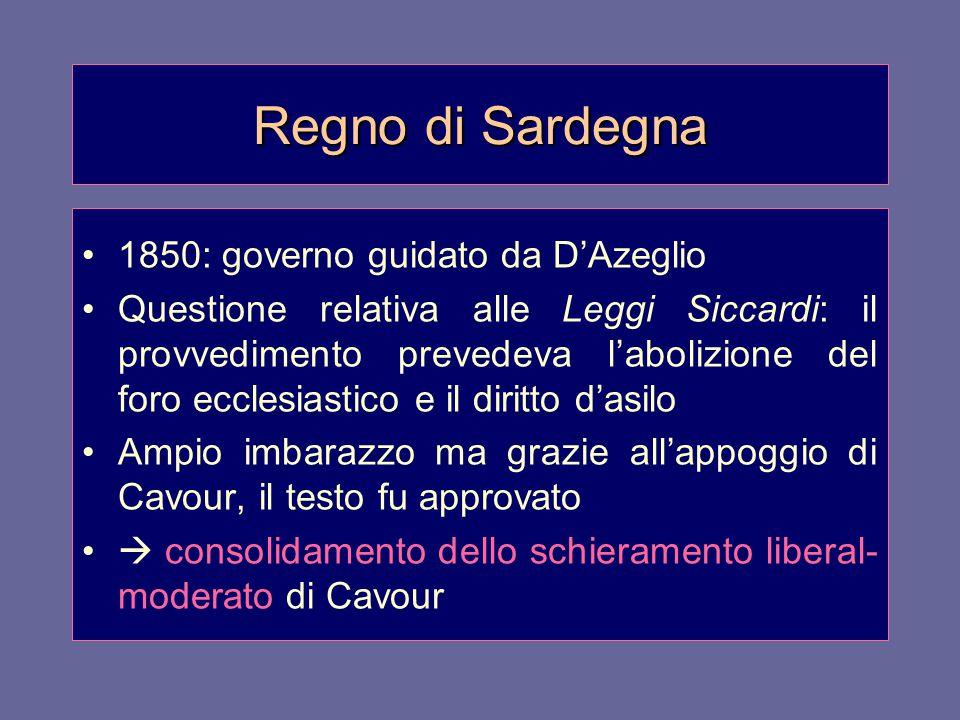 Regno di Sardegna 1850: governo guidato da D'Azeglio Questione relativa alle Leggi Siccardi: il provvedimento prevedeva l'abolizione del foro ecclesia