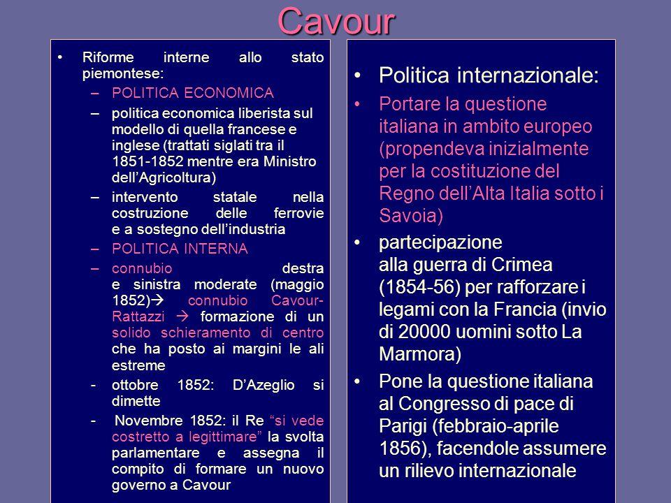 Cavour Riforme interne allo stato piemontese: –POLITICA ECONOMICA –politica economica liberista sul modello di quella francese e inglese (trattati sig