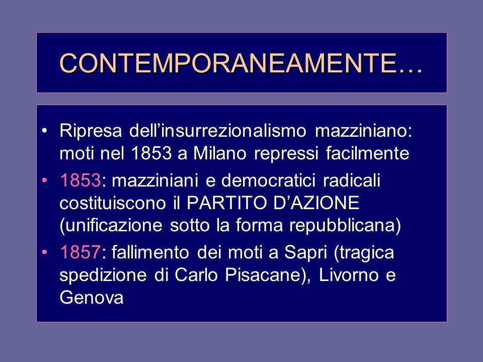 CONTEMPORANEAMENTE… Ripresa dell'insurrezionalismo mazziniano: moti nel 1853 a Milano repressi facilmente 1853: mazziniani e democratici radicali cost