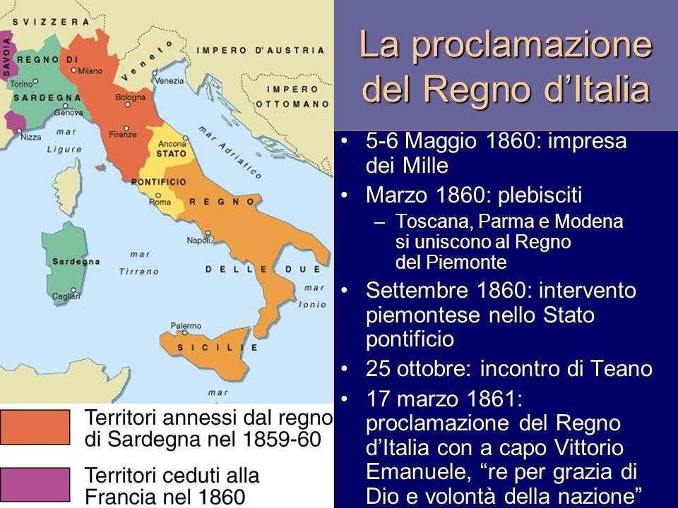 La proclamazione del Regno d'Italia 5-6 Maggio 1860: impresa dei Mille Marzo 1860: plebisciti –Toscana, Parma e Modena si uniscono al Regno del Piemon