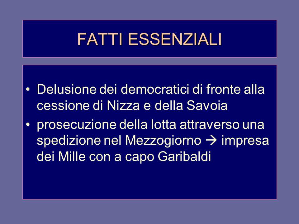 FATTI ESSENZIALI Delusione dei democratici di fronte alla cessione di Nizza e della Savoia prosecuzione della lotta attraverso una spedizione nel Mezz