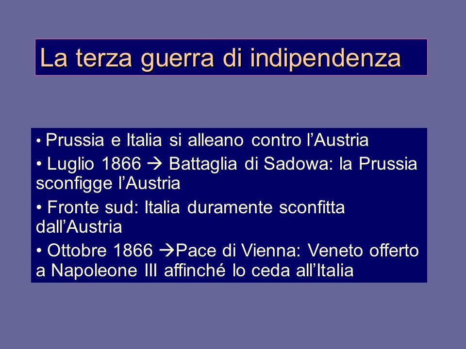 La terza guerra di indipendenza Prussia e Italia si alleano contro l'Austria Luglio 1866  Battaglia di Sadowa: la Prussia sconfigge l'Austria Fronte